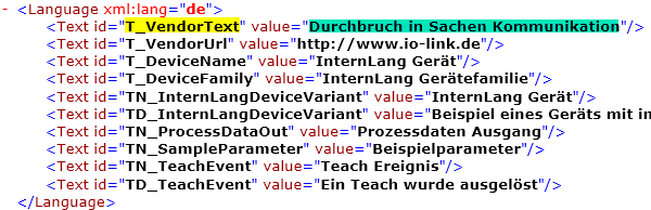 IO-Link IODD Datei - Language tag