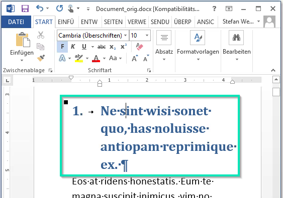 Microsoft Word - Heading1 assigned and changed
