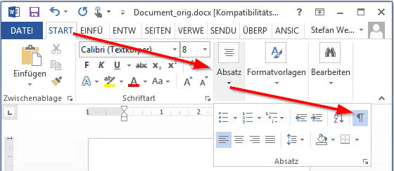 Microsoft Word - Show control characters