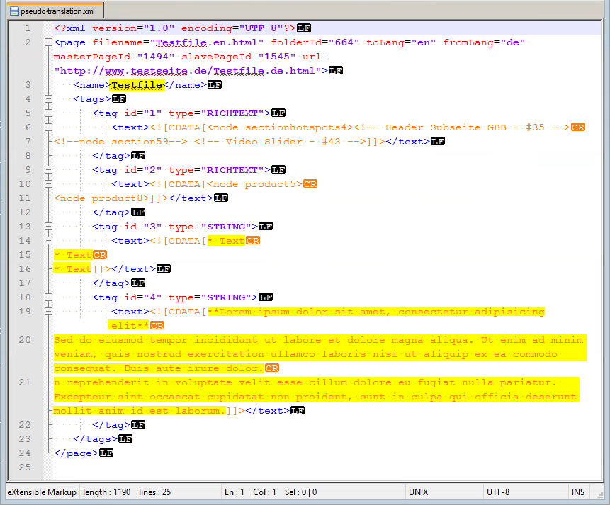 Pseudo translation XML file original file to be translated