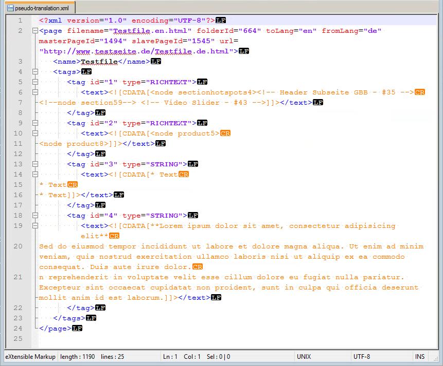 XML original file for pseudo translation
