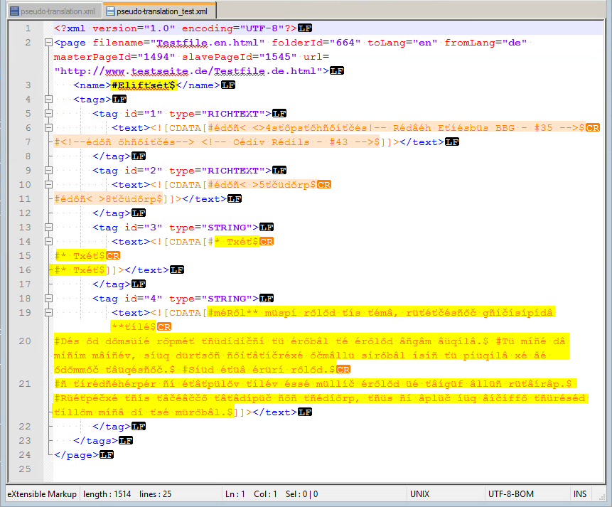 First translation test of the XML file with Pseudo Translation
