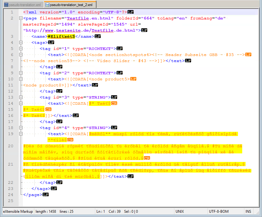Pseudo Translation XML-Datei zweiter Test