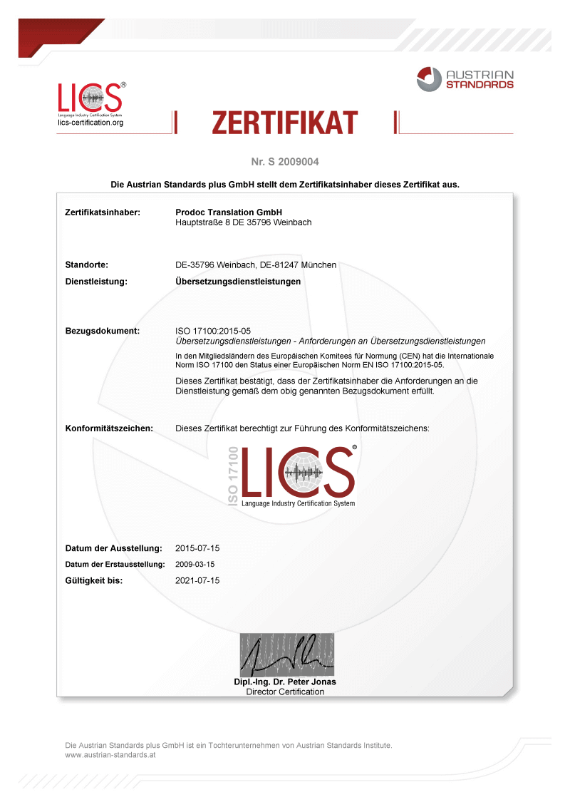 The ISO 17100 certificate from 2015 for our certified translation service