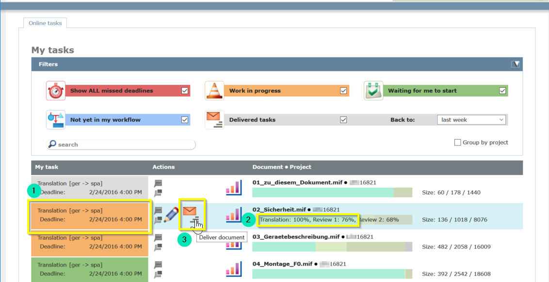 deliver files from the my tasks list in memQWebTrans