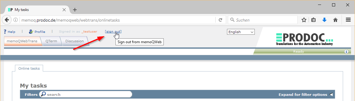 sign-out from memQWebTrans