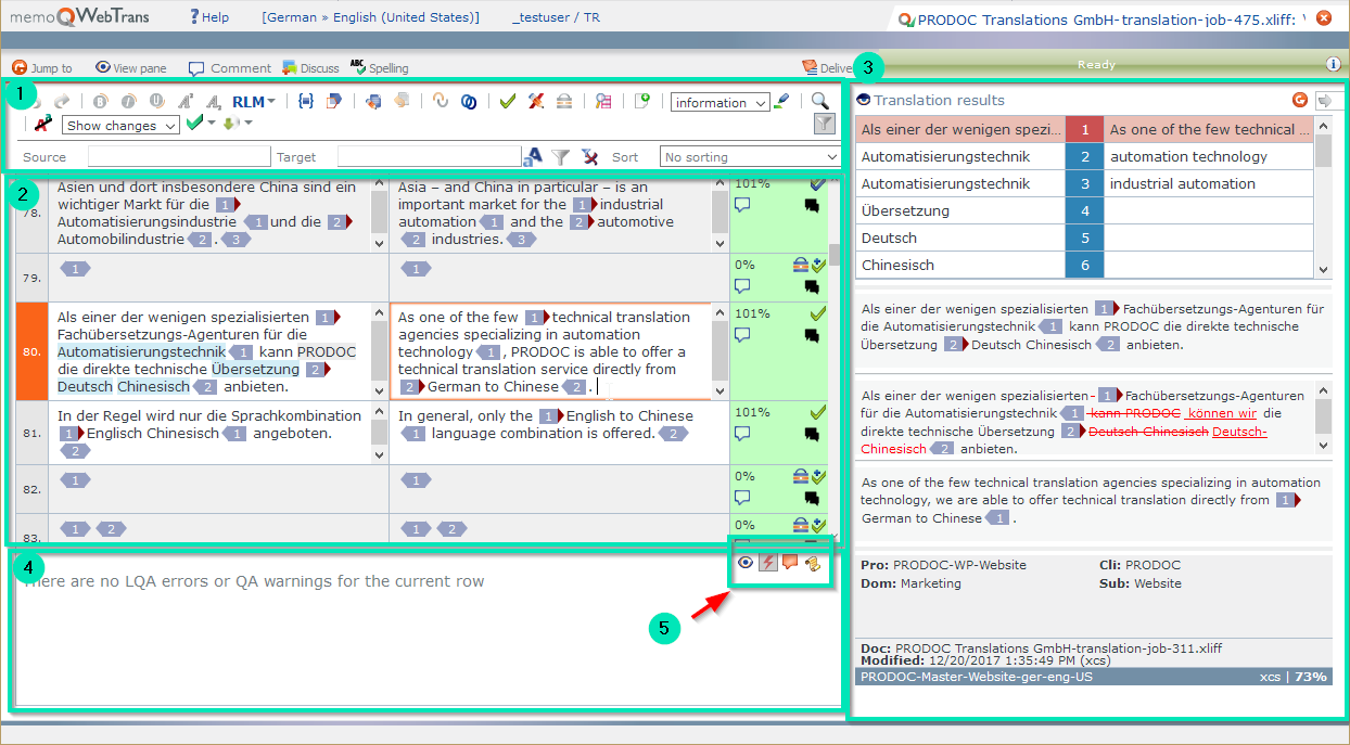 memQWebTrans user interface