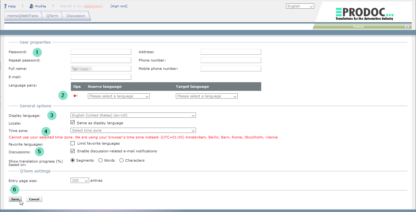 memoQWeb - Profileinstellungen bearbeiten