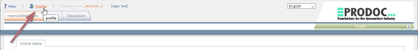 Profileinstellungen in memoQWeb ändern